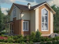 Двухэтажный дом с панорамным окном